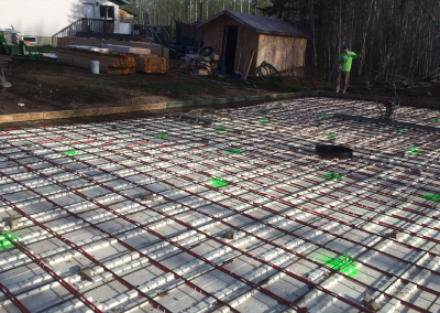 Prepped Concrete Pad With In Floor Heat Lines