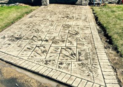 Ashlar Slate Stamped Concrete Driveway