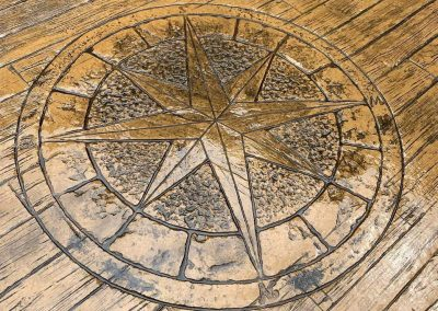 Stamped Compass Rose Concrete and Stamped Wood Plank